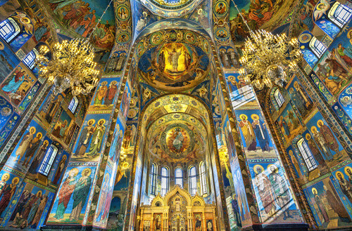 Interior of Church of the Savior on Spilled Blood is architectural landmark and monument to Alexander II in Russia