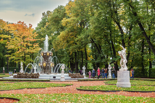 Summer garden in autumn this park is one of the oldest in Saint Petersburg Russia