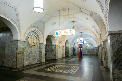 Beautiful interior of Kultury metro station on Koltsevaya line in Moscow Russia