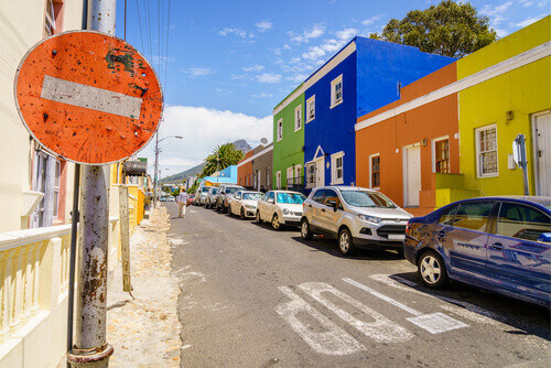 Street scene in historic Bo-Kaap district in Cape Town South Africa