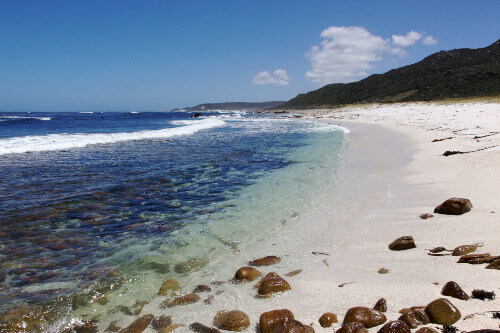 The cold, clear waters of the Atlantic Ocean at Maclear Beach, in the Cape of Good Hope area of the Cape Peninsula South Africa