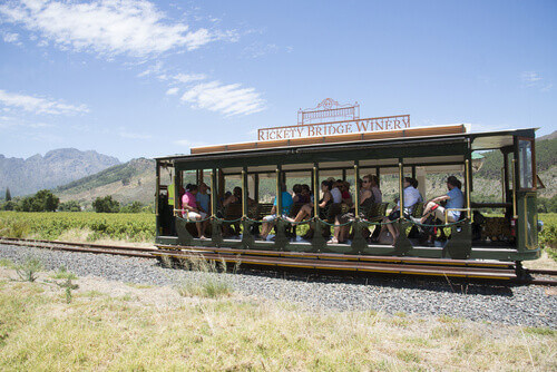 Rickety Bridge Winery a tourist tram ride between vineyards in the Franschhoek Valley Western Cape South Africa