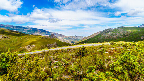 Spectacular view of Franschhoek Pass, also called Lambrechts Road R45 in Western Cape South Africa