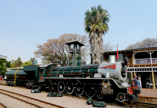 Steam train about to depart from Capital Park Station in Pretoria South Africa