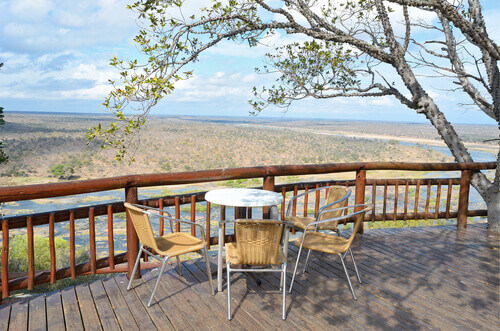 Beautiful river view from camping restaurant in Kruger National Park in South Africa