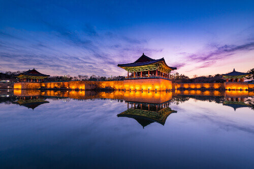 Beautiful Sunset view at Donggung Palace and Wolji Pond in Gyeongju South Korea