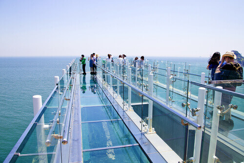 Oryukdo skywalk is transparent skywalk to see Oryukdo islands in Busan South Korea