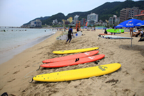 Songjeong beach surfers located near the Haeundae beach in Busan South Korea