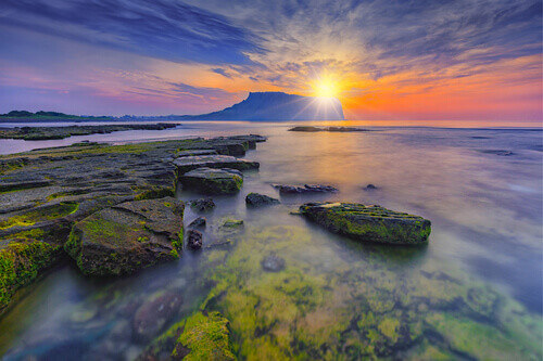 Sunrise at Seongsan Ilchulbong in Jeju island South Korea