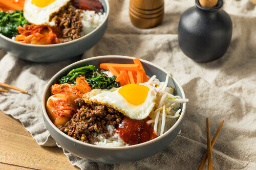 Korean spicy Bibimbap rice with egg and beef in South Korea