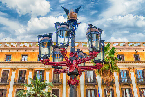 Lantern designed by Antonio Gaudi in Placa Reial, the iconic square is located at the Gothic Quarter in Barcelona Spain