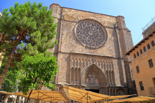 Large window on the main facade of Santa Maria del Pi church in Barcelona Catalonia Spain