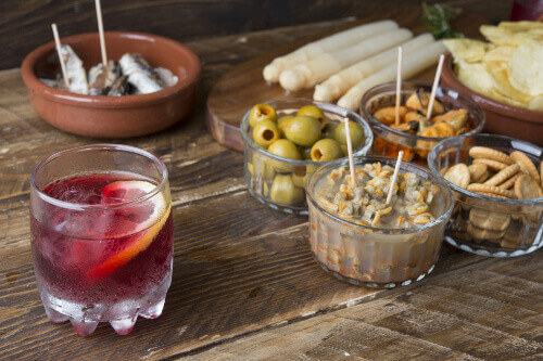 Typical catalonian spanish lunch with Vermouth in Barcelona Spain