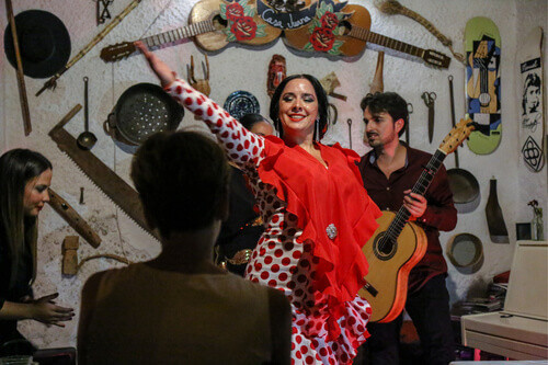 Authentic flamenco show of young gypsy dancer in red dress in a wine cellar in Granada Spain