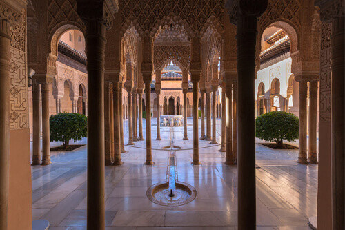 Famous Alhambra is a palace and fortress complex located in Granada Andalusia Spain