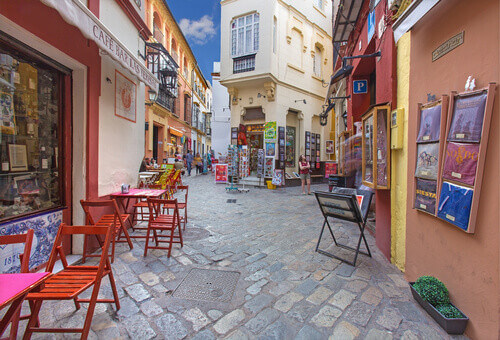 Calle Ximenez de Enciso street in Santa Cruz District Seville Spain