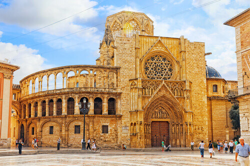 Square of Saint Mary and Valencia Cathedral Temple in old town in Valencia Spain