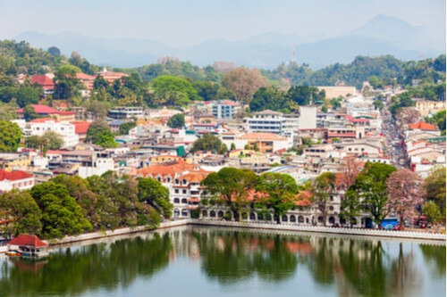 Kandy Lake and Kandy City's Aerial View