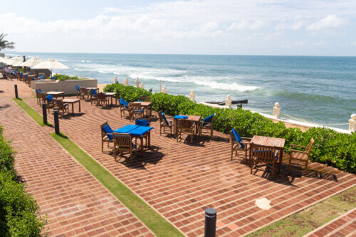 Terrace of the Galle Face hotel. The hotel is one of the oldest in the city of Colombo Sri Lanka