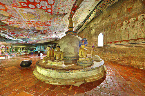 Historical Dambulla cave temple with ancient wall paintings in Dambulla, Sri Lanka