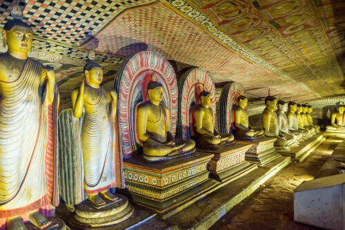 The golden temple of Dambulla is world heritage site and has a total of a total of 153 Buddha statues located in Sri Lanka