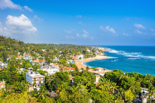 Unawatuna beach at sunny day as seen from the rooftop of a hotel in Sri Lanka