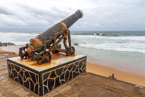 Old colonial canon on the Galle Face Green Colombo Sri Lanka