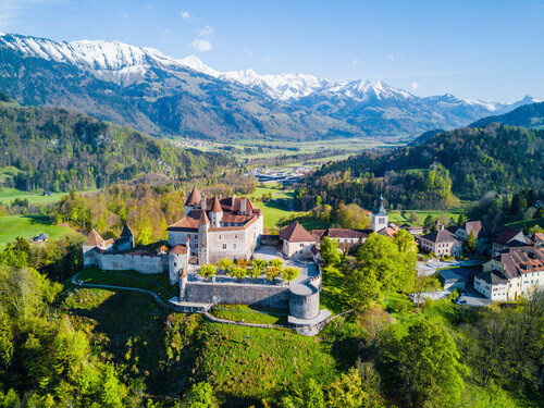 The Medieval Town of Gruyeres and Famous Castle of Gruyeres in Switzerland