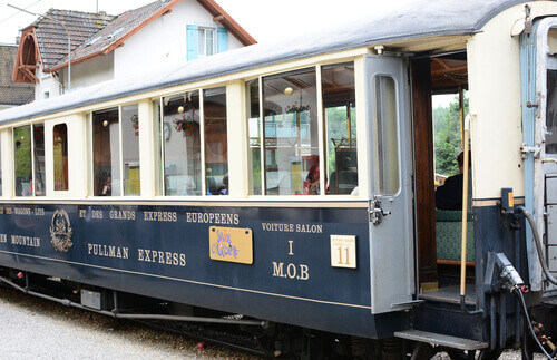 The luxury tourist train departs from Montreux to stops in Gruyere for cheese and chocolate factory tours in Switzerland
