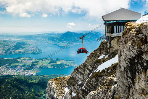 Mount Pilatus Gondola with Pilatus lake in Lucerne Switzerland