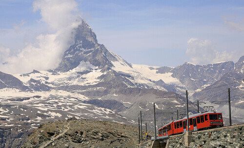 The Gornergrat railway is a mountain rack railway, located in the Swiss canton of Valais in Valais Switzerland