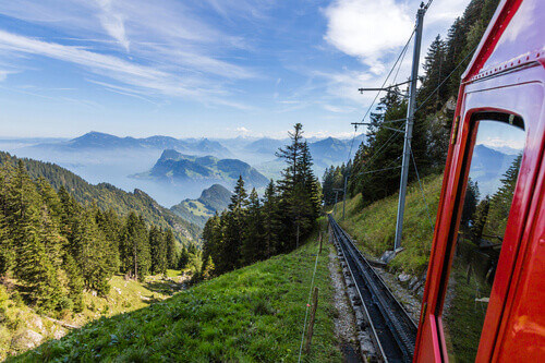 The Pilatus train, the worlds steepest cogwheel railway nears the top of Mount Pilatus in Lucerne Switzerland