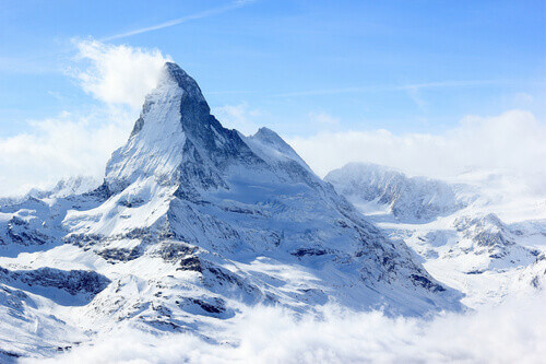 View of the Matterhorn from the Rothorn summit station in Switzerland