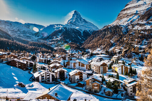 Zermatt and Matterhorn Mountain in Valais Switzerland
