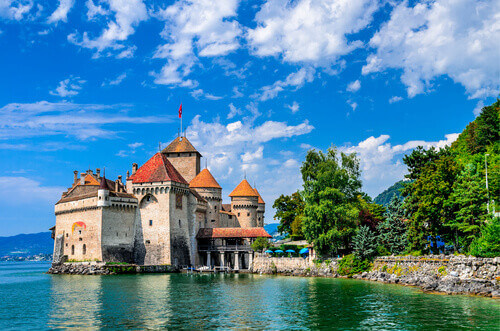 Castle Chillon one of the most visited castle in Switzerland in Montreux Switzerland