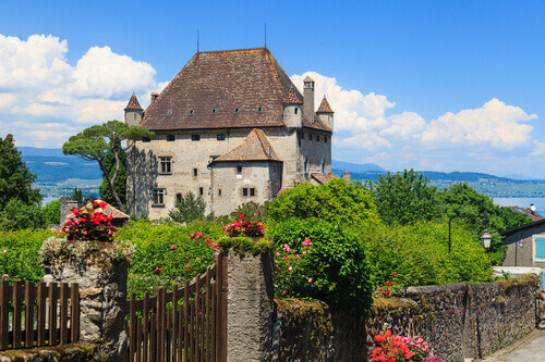Most beautiful medieval village in south east France Yvoire with Chateau de Yvoire in Yvoire Switzerland