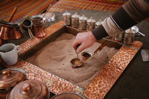 Traditional Turkish Coffee cooked in sand