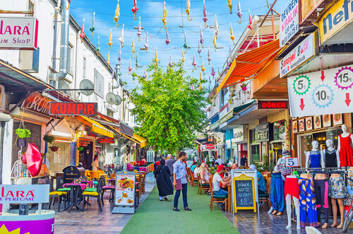 Inonu street is famous shopping location with large amount of cafes and bars in Antalya Turkey
