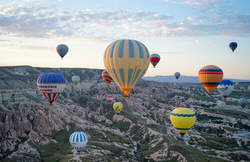 Hot air balloons riding in Goreme National Park Cappadocia