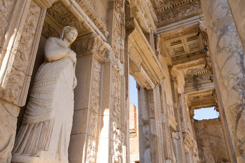 Great Byzantine Statue in the Library of Celsus in Ephesus Turkey