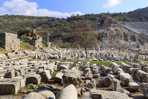 Gymnasium of Vedius or Theatre Gymnasium at the eastern end of Arcadiane Street in Ephesus Turkey