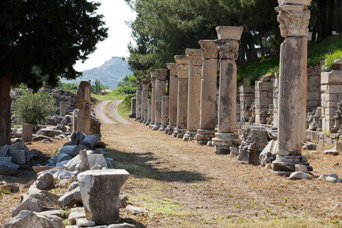 Harbor Street in the ancient Greek city Ephesus Turkey