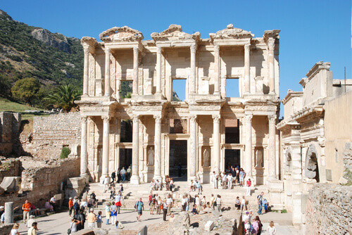 Library of Celsus with tourists in Ephesus Turkey