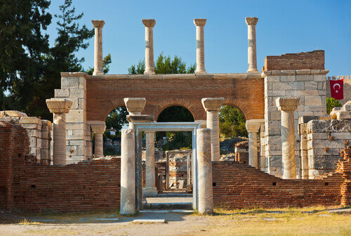 Ruins of Saint Johns Basilica at Ayasuluk Hill in Selcuk Ephesus Turkey