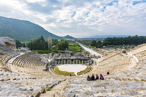 The Ephesus Amphitheatre on top of Panayir Hill in the Ancient City of Ephesus Turkey