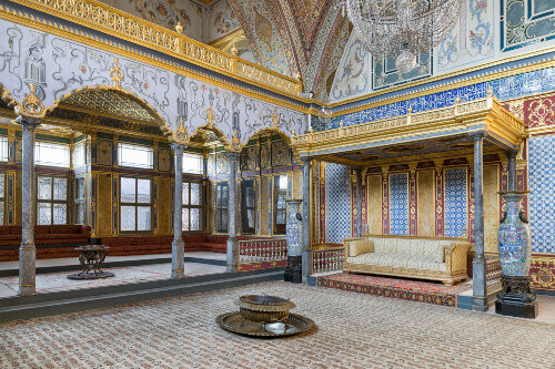 Detail from throne room inside Topkapi Palace in Istanbul Turkey
