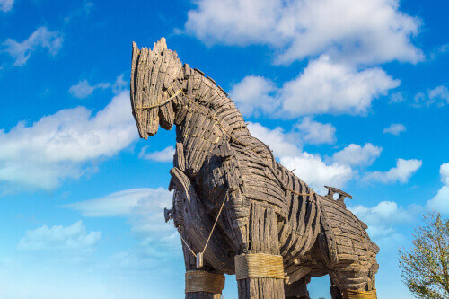Trojan horse in Canakkale in a beautiful summer day in Turkey, this horse was used in movie Troy