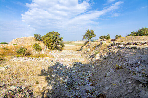 Ruin of the Schliemann Trench in ancient city Troy in Canakkale Province Turkey