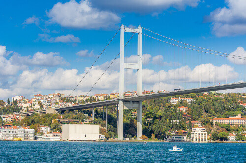 Bosphorus Bridge with background of Bosphorus strait on a sunny day with background cloudy blue sky and blue sea in Istanbul, Turkey