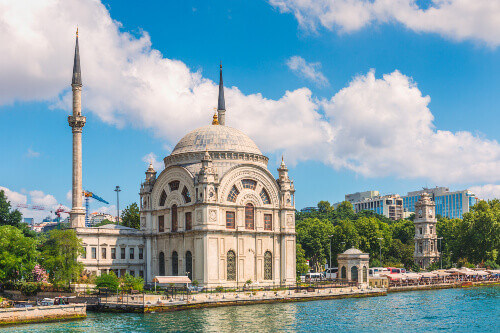Dolmabahce Mosque on the banks of Bosphorus strait in Istanbul Turkey